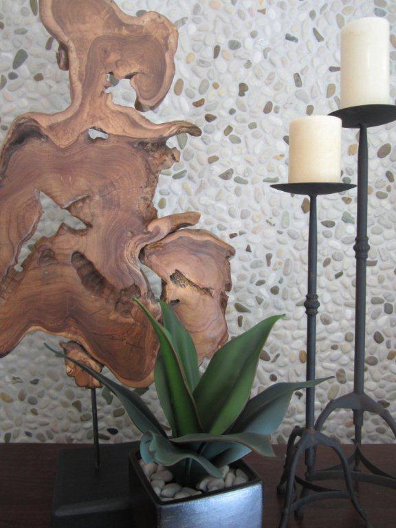 Ivory Blend Pebbles Erthcoverings Backsplash