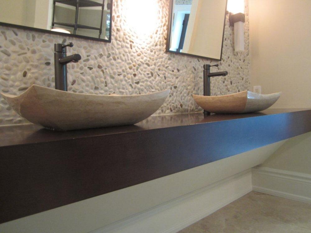 Ivory Blend River Pebbles Install Backsplash