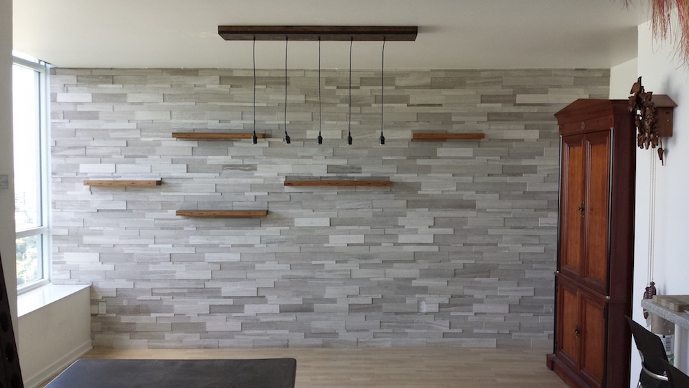 Silver Fox Erthcoverings Strips Wall Feature Install