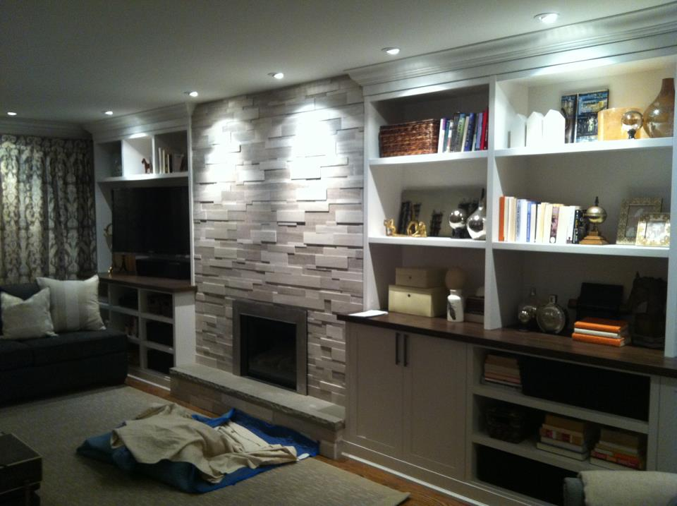 Silver Fox Limestone Fireplace Install