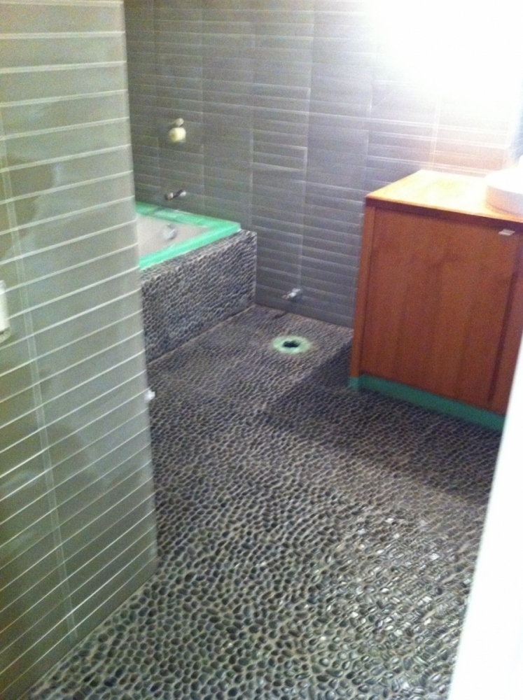 Stone Tile Glass Tile and Charcoal Pebbles Erthcoverings